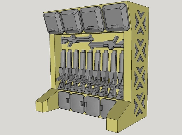15mm-Scale Arms Rack/Locker in Smooth Fine Detail Plastic