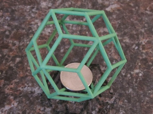 Rhombic Triacontahedron (100 cc) in Green Strong & Flexible Polished