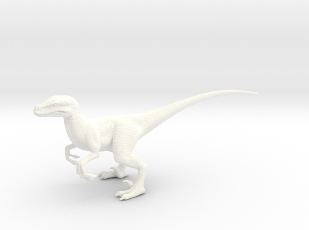 Velociraptor in White Processed Versatile Plastic