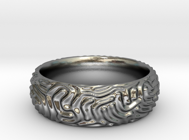 Reaction Diffusion Ring in Polished Silver: 6 / 51.5
