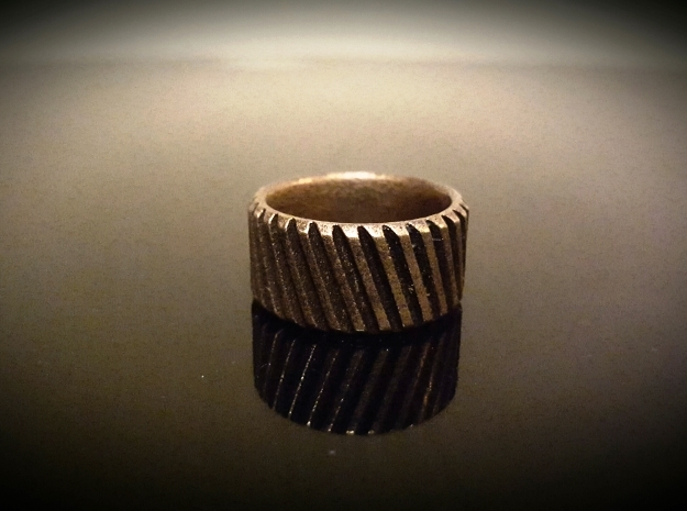 Gear Cog Fashion Ring Size 10 in Polished Bronze Steel