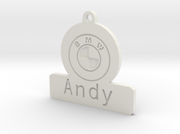 Car Keyring Andy in White Strong & Flexible