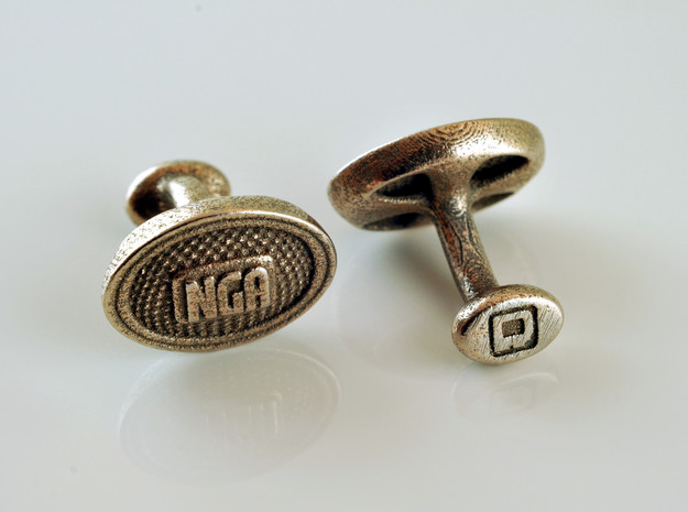 NGA Cufflinks in Polished Bronzed Silver Steel