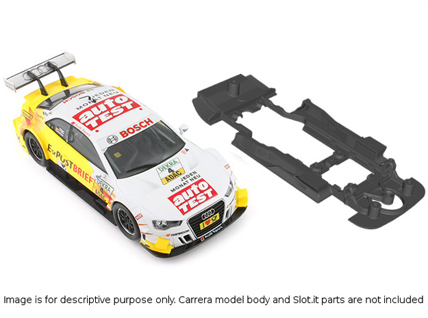 S01-ST4 Chassis for Carrera Audi A5 DTM SSD/STD in Black Natural Versatile Plastic