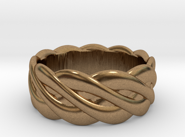 Braided celtic ring - t 19 in Raw Brass