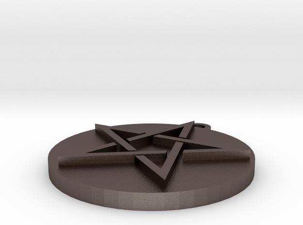 Pentagram Pendant in Polished Bronzed Silver Steel