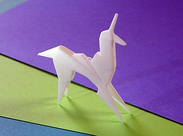 Origami Unicorn in White Strong & Flexible Polished