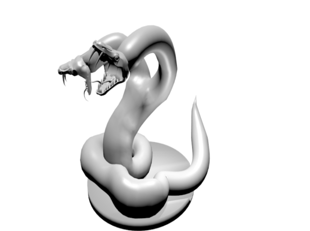 Two Headed Snake Miniature 3d printed What it looks like if smoothed in Blender