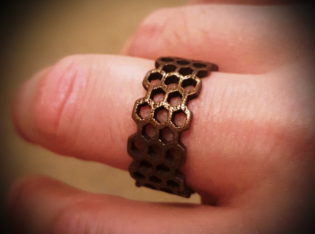 Honeycomb Fashion Ring Size 10 in Polished Bronze Steel