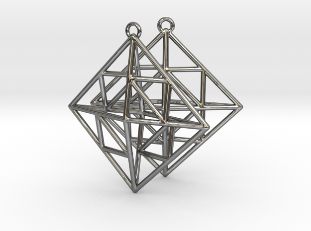 OCTAHEDRON Earrings Nº2 in Fine Detail Polished Silver