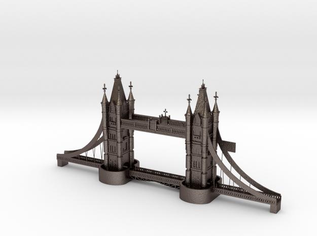 London Bridge 3d Printing in Polished Bronzed Silver Steel