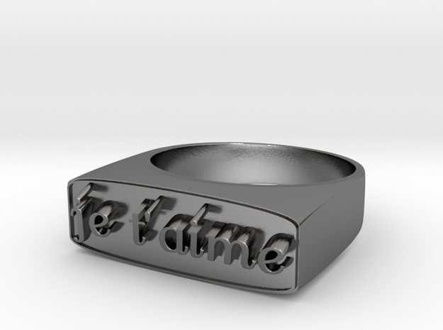 """RING   """" Je t'aime """"   U.S Size  8 in Polished Silver"""