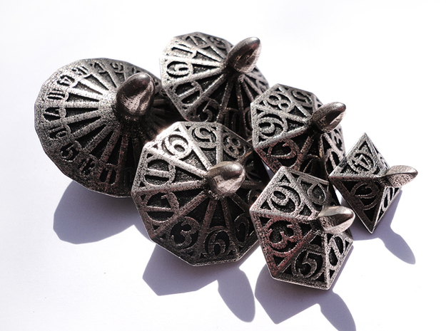 Top Dice Set in Polished Bronzed Silver Steel
