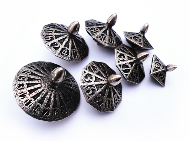 Top Dice Set with Decader in Polished Bronzed Silver Steel