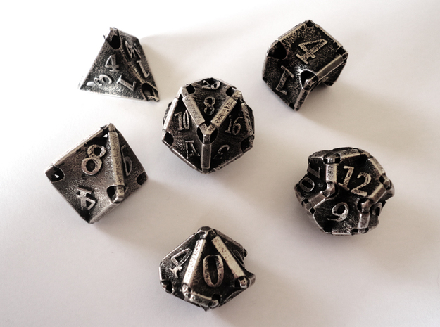 Stretcher Dice Set in Polished Bronzed Silver Steel