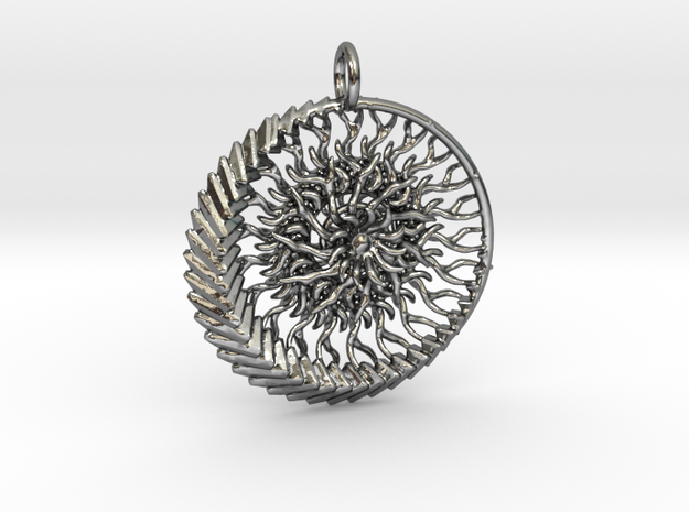 1 piece sun and moon pendant in Polished Silver