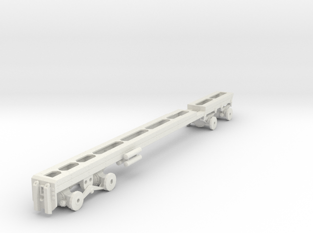 1/50th Heavy Oilfield type Twin Steer Truck Frame in White Natural Versatile Plastic