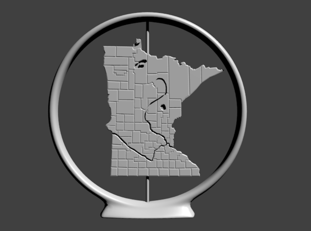 Minnesota in Polished Bronzed Silver Steel