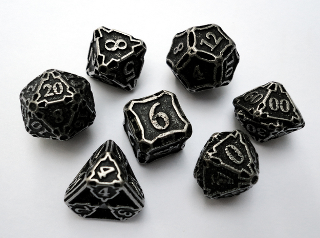 Dice Set with Decader 3d printed In stainless steel and inked.