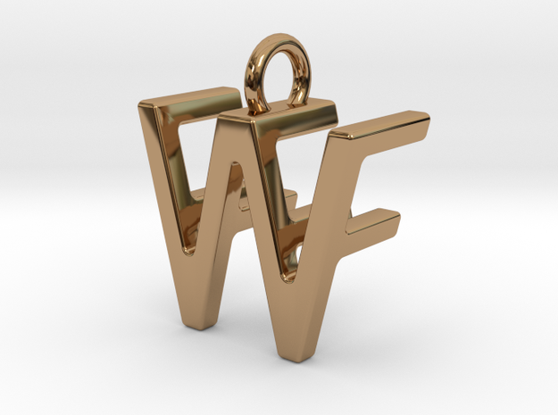 Two way letter pendant - FW WF in Polished Brass