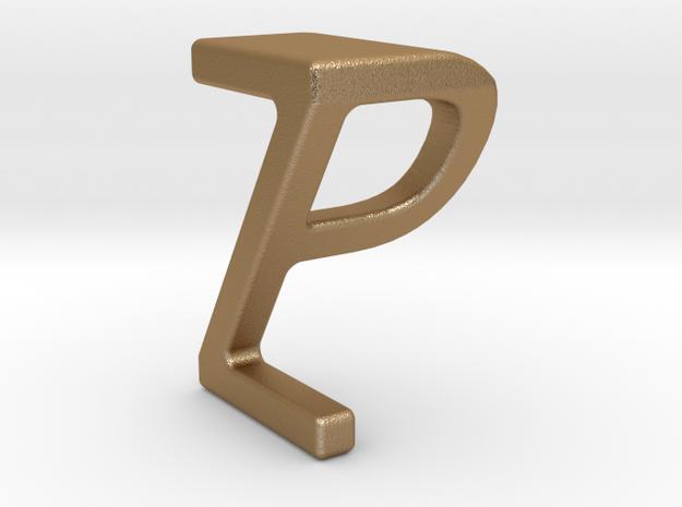 Two way letter pendant - PZ ZP in Matte Gold Steel