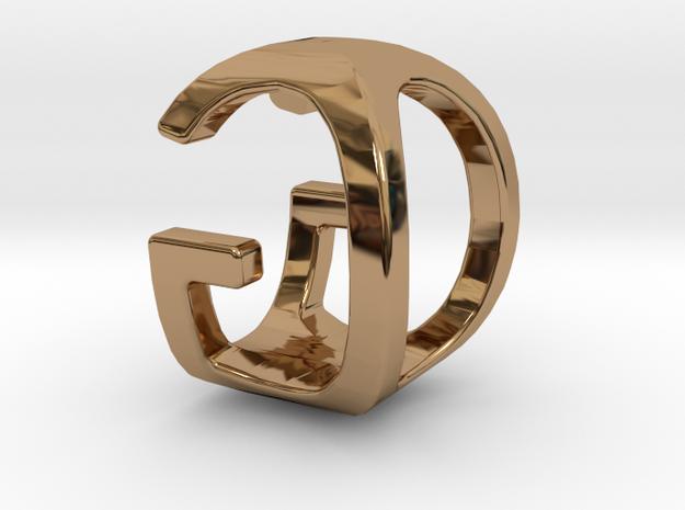 Two way letter pendant - GO OG in Polished Brass