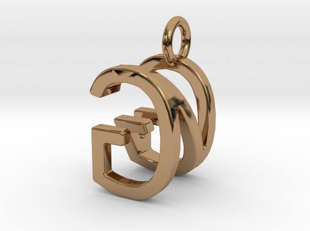 Two way letter pendant - GN NG in Polished Brass