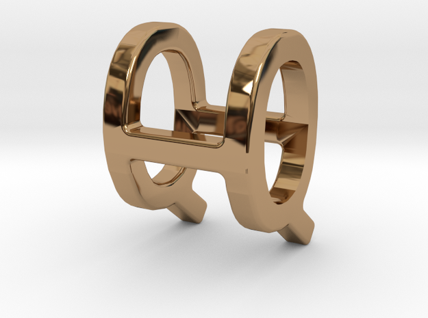 Two way letter pendant - HQ QH in Polished Brass
