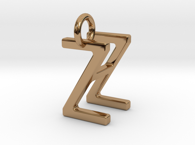 Two way letter pendant - HZ ZH in Polished Brass