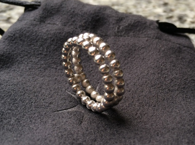 Ring Sphere 2 in Rhodium Plated