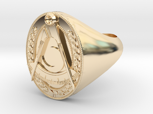 Masonic District Deputy Jewel Ring in 14k Gold Plated Brass