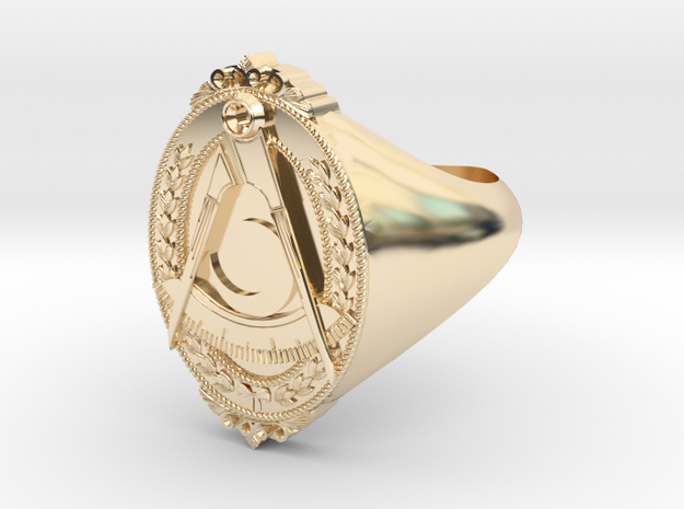 District Deputy Jewel Ring in 14k Gold Plated Brass