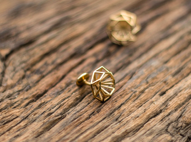 Cufflinks Octagonal in Polished Brass