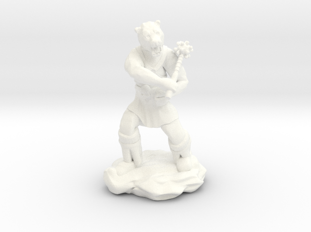 Werebear With Mace in White Strong & Flexible Polished