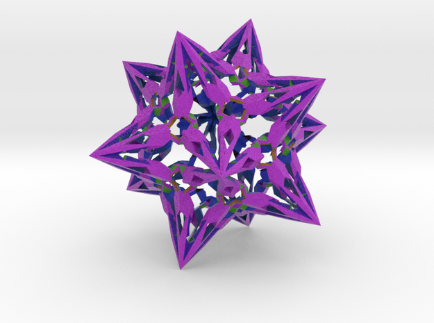"""complex stellate icosahedron """"Eladrin Form"""" in Full Color Sandstone"""