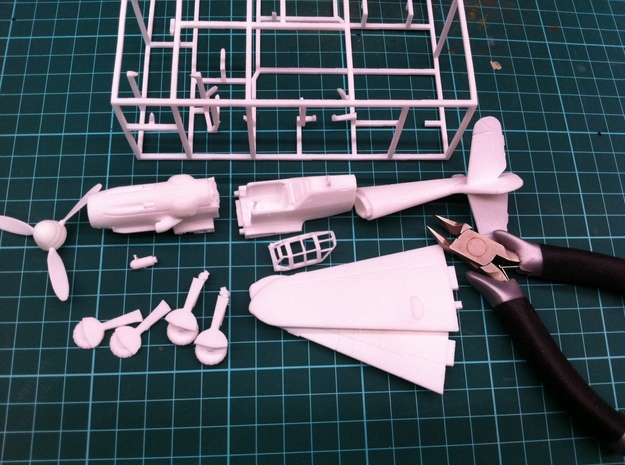 BF109G6 Messerschsmitt, 1/56 scale, 28mm wargames in White Processed Versatile Plastic
