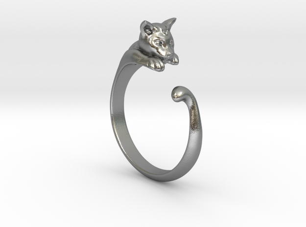 Cat Ring V1 - (Sizes 5 to 15 available) US Size 9 in Natural Silver
