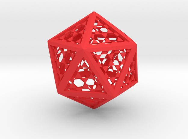 Icosaedro 12x11x13 cms in Red Processed Versatile Plastic