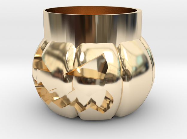 Halloween Pumpkin Glass New in 14K Yellow Gold