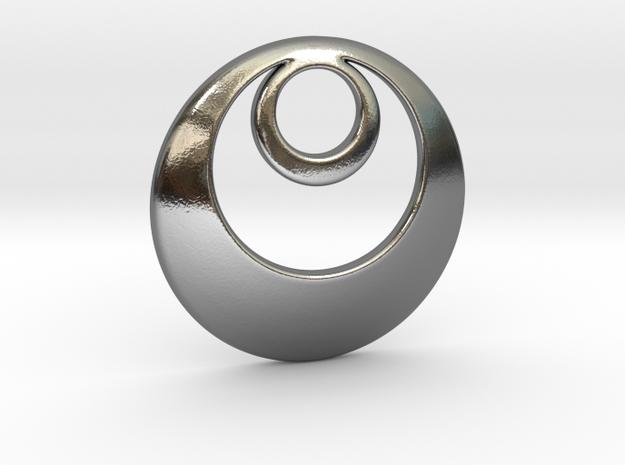 Fibonacci Round 1 Pendant in Polished Silver