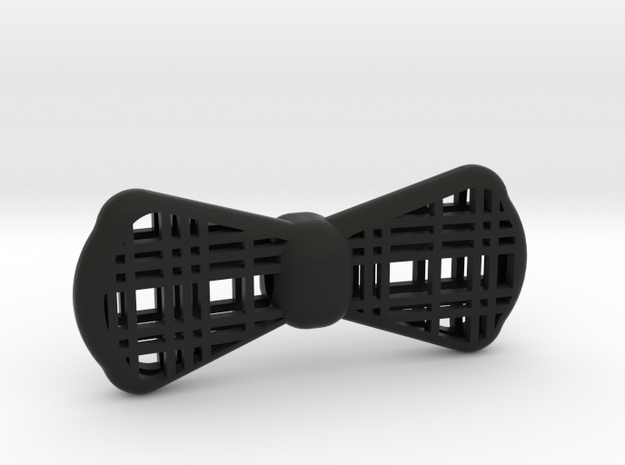 Plaid Bow Tie 3d Printed in Black Strong & Flexible