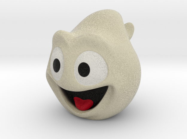 Halloween Ghost Head Smiling Off-White Small in Full Color Sandstone