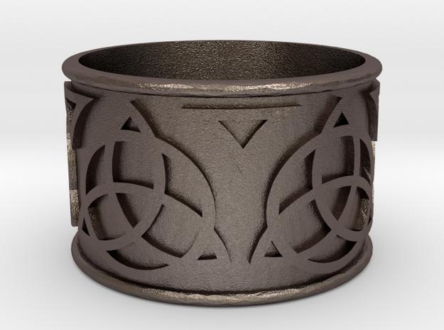 Celtic Lightsaber Ring 1 in Polished Bronzed Silver Steel