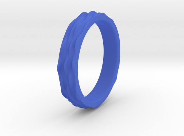 Ripple Textured Ring (Size T) in Blue Processed Versatile Plastic