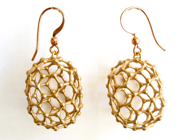 C80 Buckyball earrings in Natural Bronze