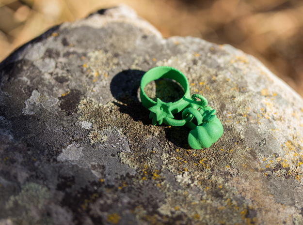 Fairytale Pumpkin Charm Ring in Green Processed Versatile Plastic: 5 / 49