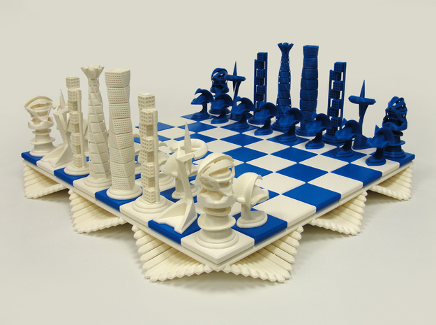 Chess Set Knight  in White Processed Versatile Plastic