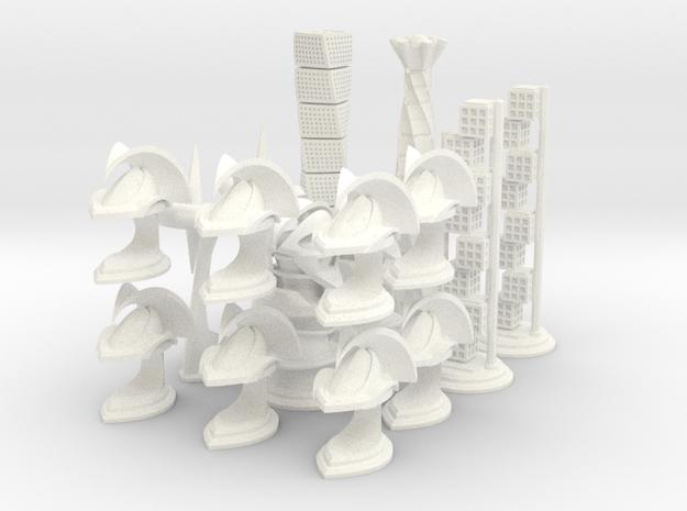 Chess Set Pieces White (PART 4) in White Processed Versatile Plastic