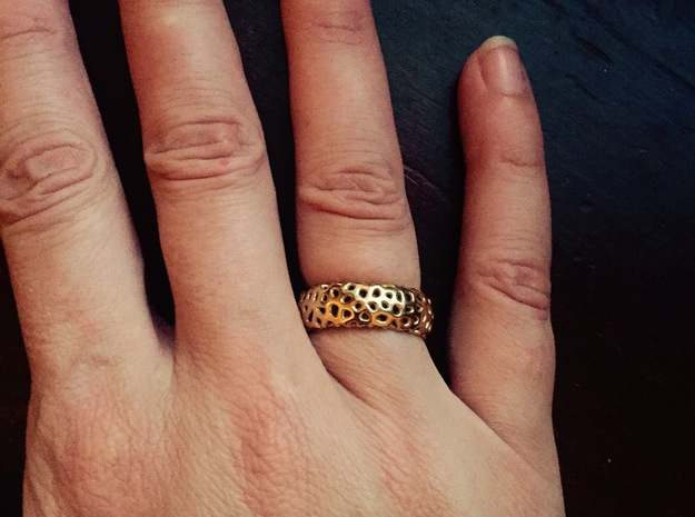 Cellular Ring Size 10 in 18k Gold Plated Brass