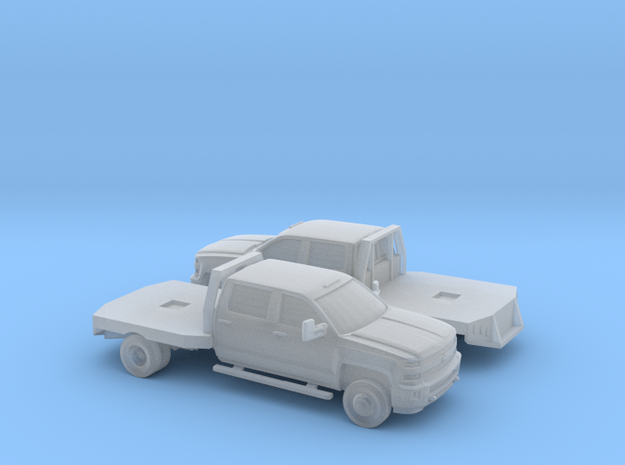 1/160 2X 2015 Chevrolet Silverado Flatbed Dually in Frosted Ultra Detail